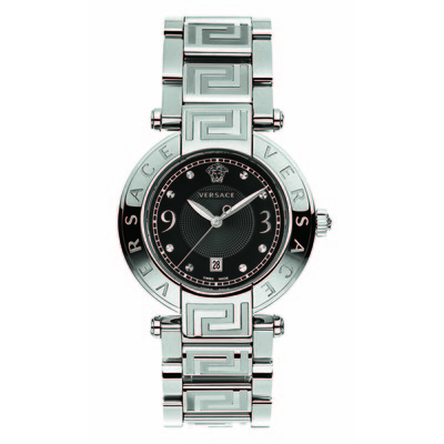 Versace Women's 68Q99D009 S099 'Reve' Stainless Steel Black Dial Watch