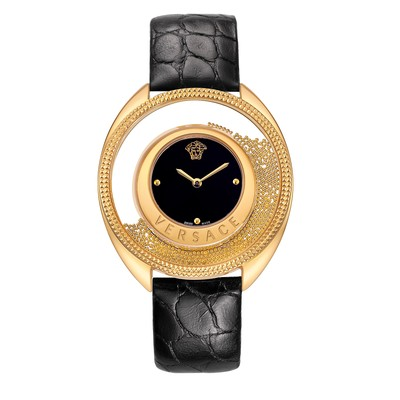 Versace Women's 86Q70D008 S009 'Destiny Spirit' Gold-Plated Watch With Leather Band