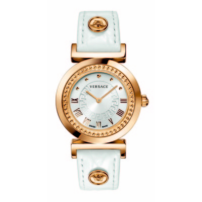 Versace Women's P5Q80D001 S001 'Vanity' Rose Gold Ion-Plated Stainless Steel Leather Band Watch