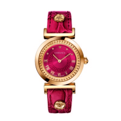 Versace Women's P5Q80D800 S800 'Vanity' Rose Gold Ion-Plated Stainless Steel Watch With Leather Band