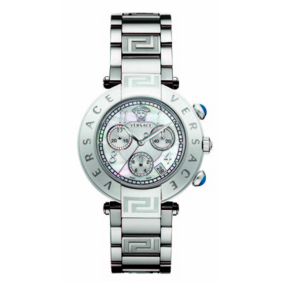 Versace Women's Q5C99D498 S099 'Reve' Chrono Round Stainless Steel Mother-Of-Pearl Dial Watch