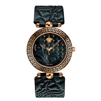 Versace Women's VK703 0013 'Vanitas' Rose Gold Ion-Plated Black Watch With Interchangeable Leather Band