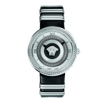 Versace Women's VLC01 0014 'V-Metal Icon' Analog Display Swiss Quartz Black and Silver Watch