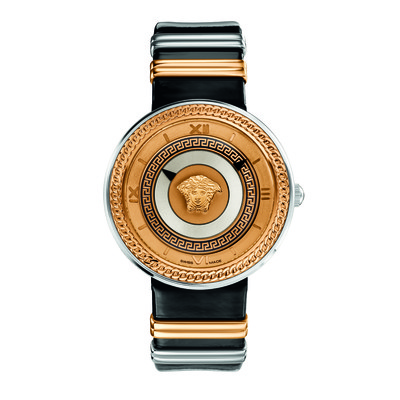 Versace Women's VLC02 0014 'V-Metal Icon' Analog Display Swiss Quartz Black and Silver/Gold Watch