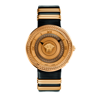 Versace Women's VLC03 0014 'V-Metal Icon' Analog Display Swiss Quartz Black and Gold Watch