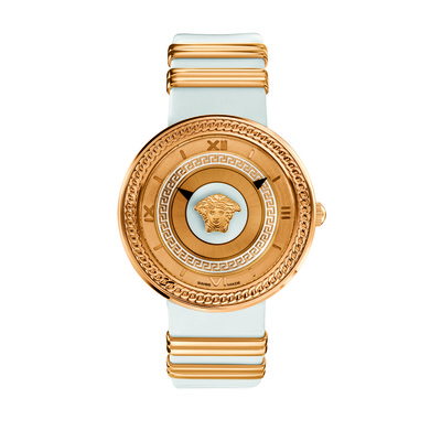 Versace Women's VLC04 0014 'V-Metal Icon' Analog Display Swiss Quartz White and Gold Watch