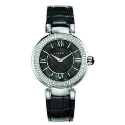 Versace Women's VNC01 0014 'Leda' Stainless Steel Watch With Black Leather Band