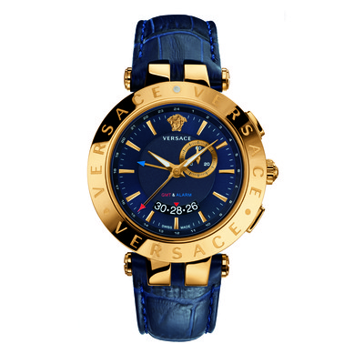 Versace Men's 29G70D282 S282 'V-Race' Round Yellow Gold Ion-Plated Stainless Steel GMT Alarm Date Blue Watch