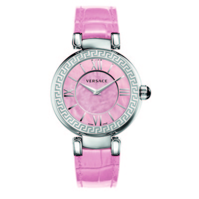 Versace Women's VNC02 0014 'Leda' Stainless Steel Watch With Pink Leather Band
