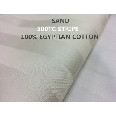 3/4'' INCH STRIPE 500TC Egyptian Cotton Sheet set Sand colour