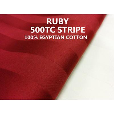 3/4'' INCH STRIPE 500TC Egyptian Cotton Sheet set Ruby Colour