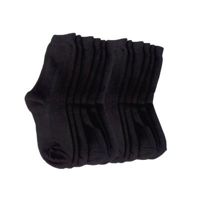 6 Pairs of Wide Rib Crew Socks-Black