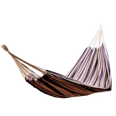"83"" Fabric Hammock Hanging Sleep Bed Outdoor Stripe Purple/Brown/Tan"