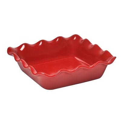 Square Baking Dish - Ruffled - Red