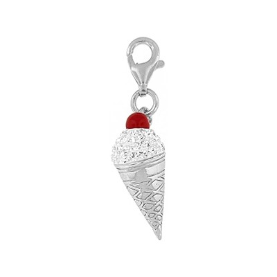Silver and Crystal Charm- Ice Cream Cone