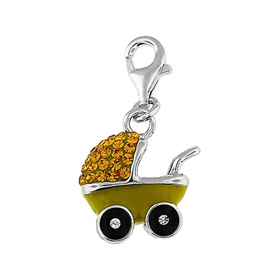 Silver and Crystal Charm - Baby Carriage