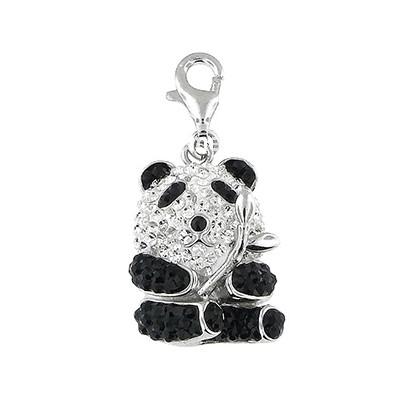 Silver and Crystal Charm - Panda