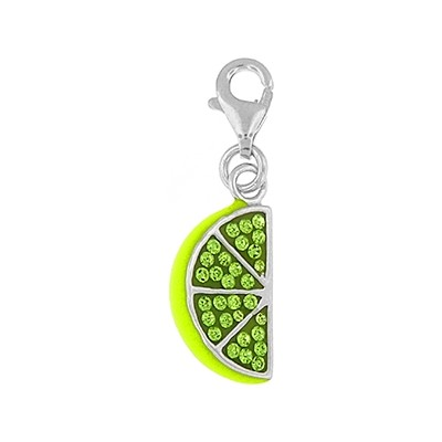 Silver and Crystal Charm - Lime