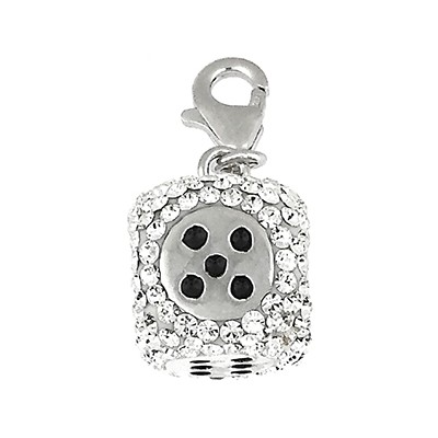 Silver and Cyrstal Charm -Dice