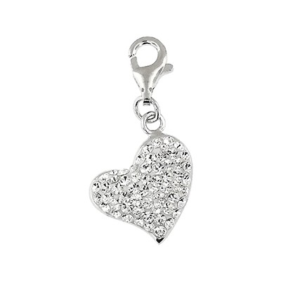 Silver and Crystal Charm Heart