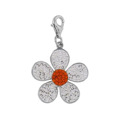 Silver and Crystal Charm - Flower