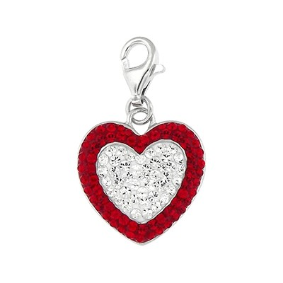 Silver and Crystal Charm - Heart
