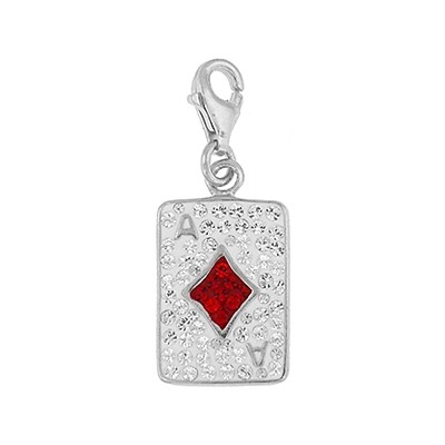 Silver and Crystal Charm - Ace of Diamonds