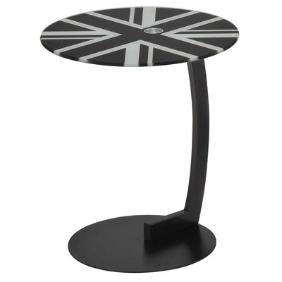 British Flag Glass/Chrome Accent Table
