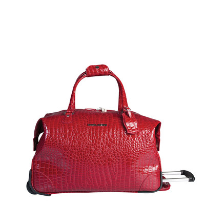 "David Jones Red 20"" Faux leather wheeled duffle bag"