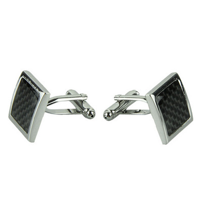 Executive Stainless Steel Silver and Black Cufflinks