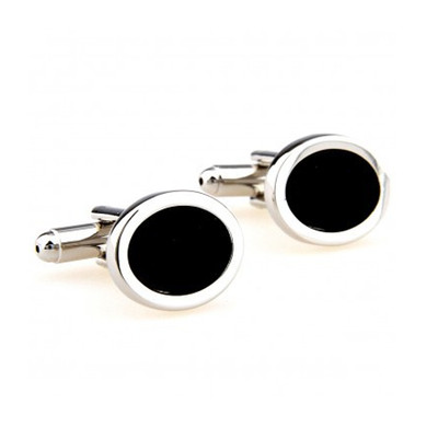 Elite Silver and Black Onyx Oval Shaped Cufflinks