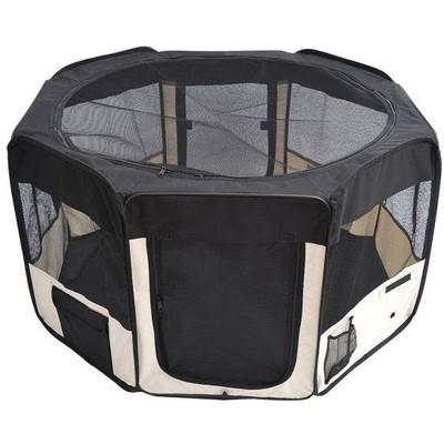 "49.2"" Large Portable Dog Pet Playpen Cream Black"
