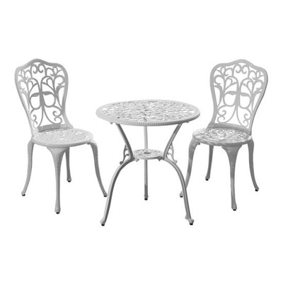 Outdoor 3pc Antique Cast Aluminum  Dining Table Chair Bistro Set White