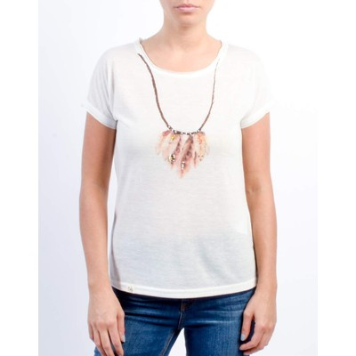 ONLY       FEATHER NECKLACE PRINTED TOP