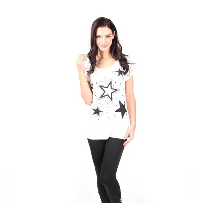 Luxanne Studded Stones Star White One Size Ladies Top