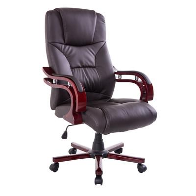 Wood High Back Executive Swivel Ergonomic Office Chair Brown