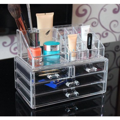 Transparent Cosmetic Makeup Case Jewelry Drawers Clear Organizer Storage Box