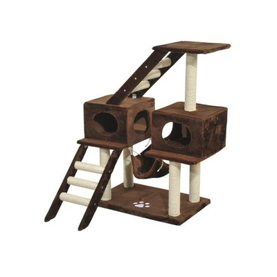 """43"""" Cat Tree Tower Condo with Hammock Brown"""