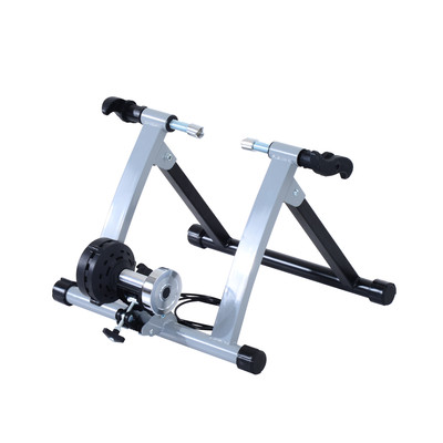 Foldable Magnetic Indoor Bicycle Trainer Stand 5 Level Exercise Silver