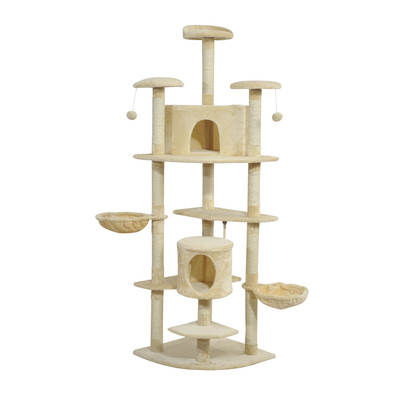 """79"""" Scratching Cat Tree Condo With Hammocks Toys Beige"""