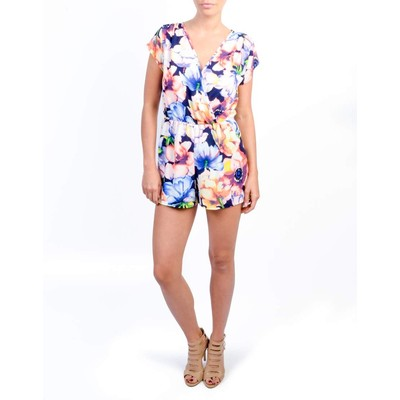 A3 Design CROSSOVER FLORAL SHORT ROMPER