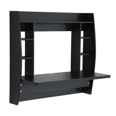 Floating Computer Desk Table Wall Mounted Office Work Space Furniture Black