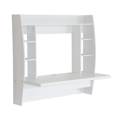 Floating Computer Desk Table Wall Mounted Office Work Space Furniture White