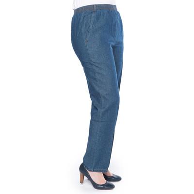 Dark Denim Cotton Pull-on Pants with Elastic Waist