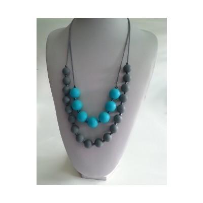 Double Strand Teething Necklace - Grey & Turquoise