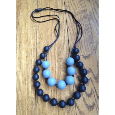 Double Strand Teething Necklace - Black and Grey