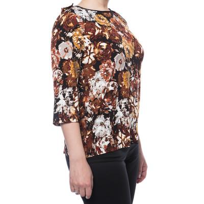 Flower Pattern Short Sleeve Poly/Spandex Snapback Top - Rust