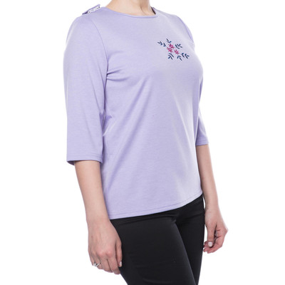 Embroidered Short Sleeve SnapBack Top - Lilac