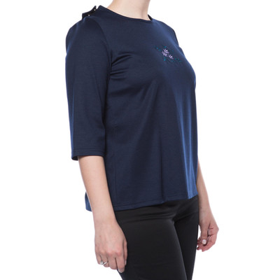 Embroidered Short Sleeve SnapBack Top - Navy