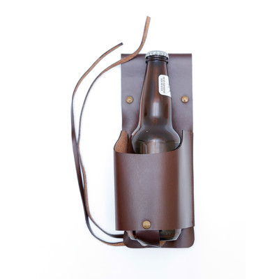 Leather Bottle Holster, Dark Brown